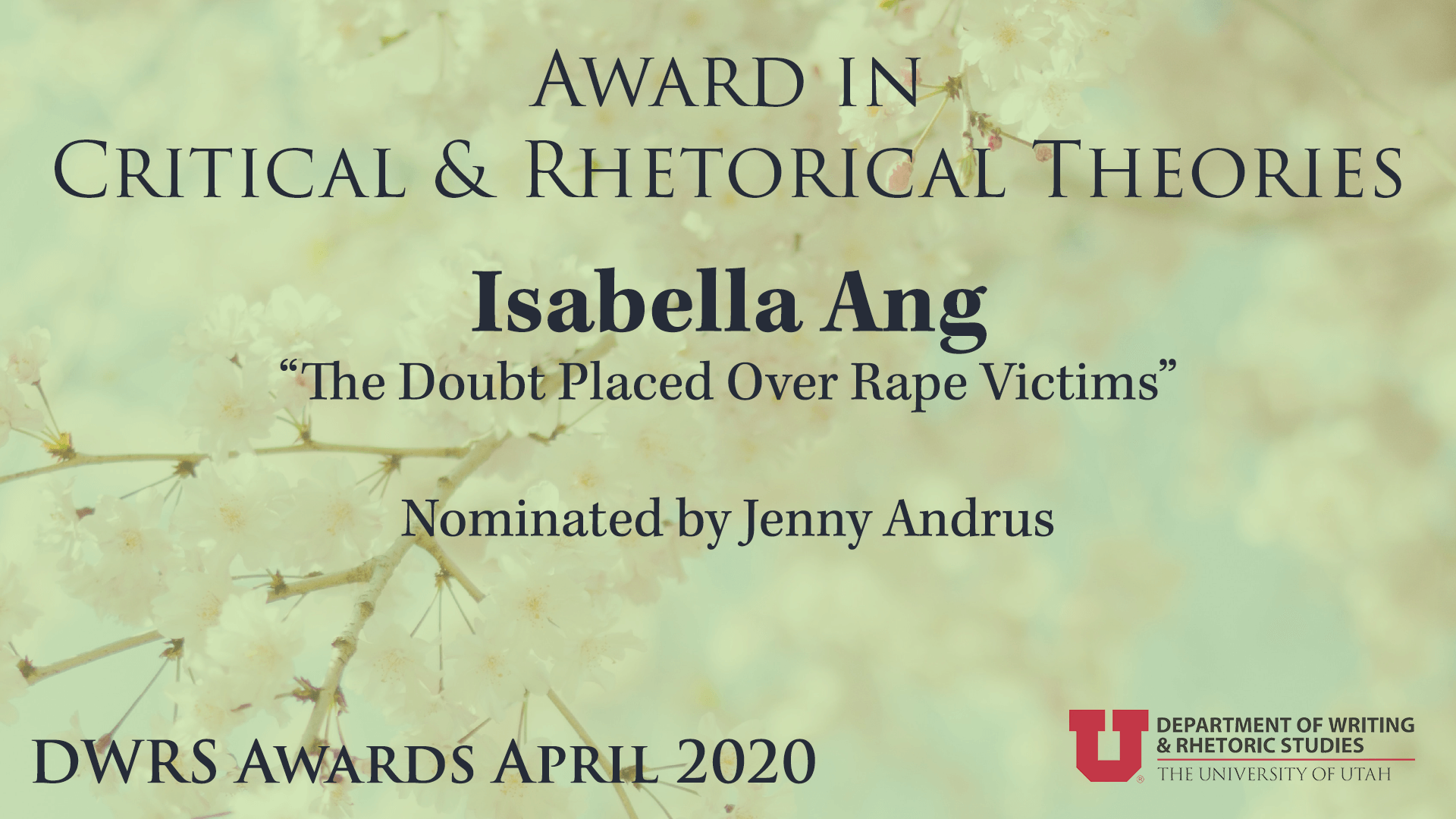 Award in Critical and Rhetorical Theories — Isabella Ang