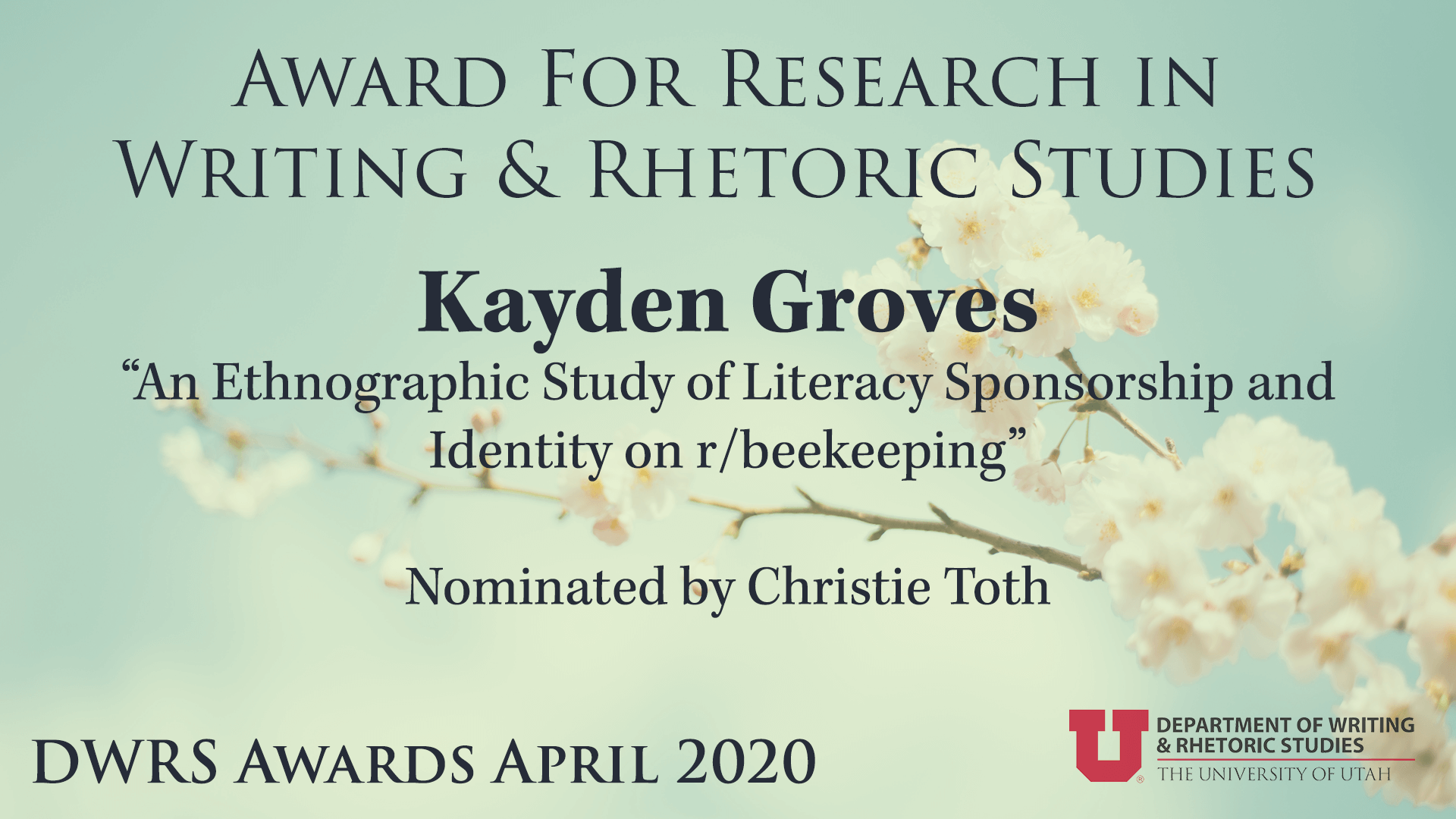 Award for Research in Writing & Rhetoric Studies — Kayden Groves