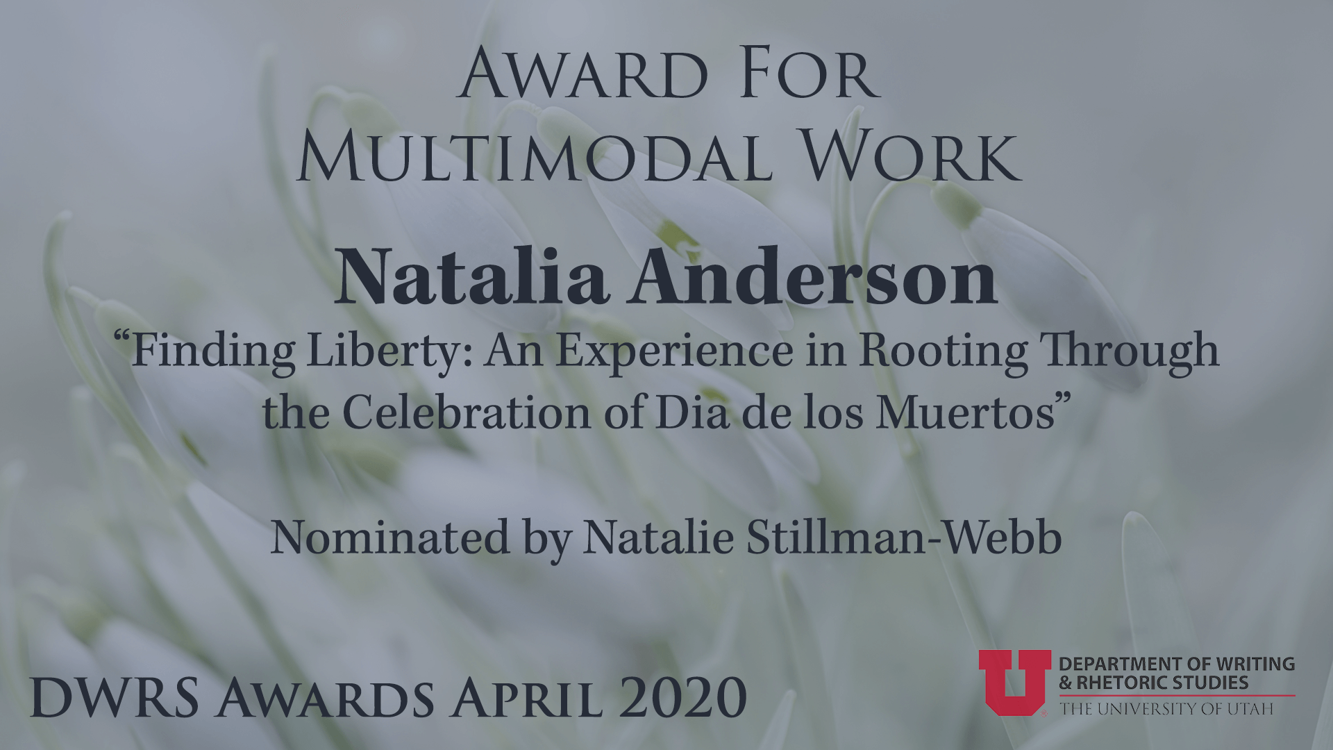 Award for Multimodal Work — Natalia Anderson