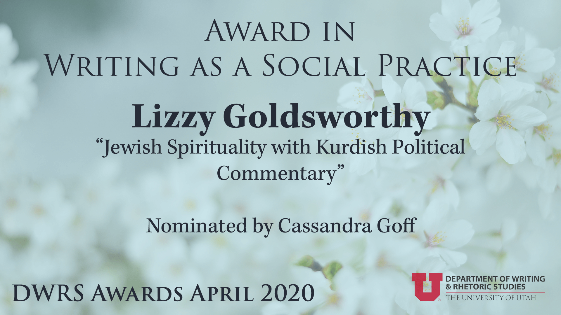 Award in Writing as a Social Practice — Lizzy Goldsworthy